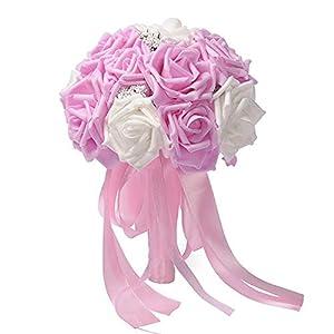 mamamoo Handmade Rose Flower Artificial Foam Flowers Wedding Decoration for Wedding Arrangement Bridal Bouquet Wedding Bouquets,Pink 1