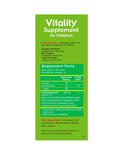 Herbion Naturals Vitality Supplement for Children – Tasty Energy Booster, Promotes Growth, Appetite, Relieves Fatigue, Improves Mental and Physical Performance, 5 fl oz