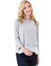 Sweet Mommy Maternity and Nursing Layered Georgette Top Office Blouse with Chiffon Hem