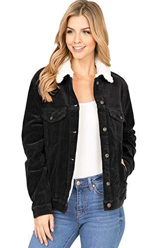 Sneak Peek Jeans Women's Sherpa Lined Corduroy Jacket (L, Black)