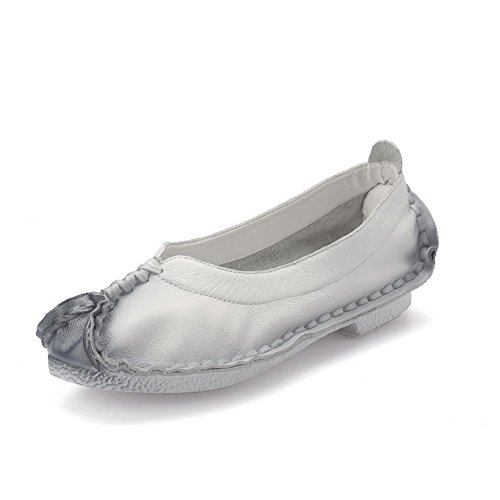 AdeeSu Womens Comfort Round-Toe Light-Weight Leather Pumps Shoes SDC04397 White