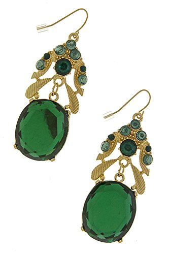 THE JEWEL RACK ROUND CRYSTAL POINT EARRINGS (Green) (Necklace Crislu Drop)