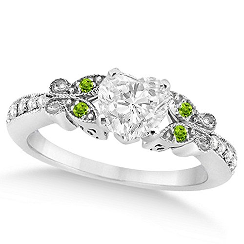 Butterfly Heart Shaped Diamond and Peridot Engagement Ring 14k White Gold (1.00ct)