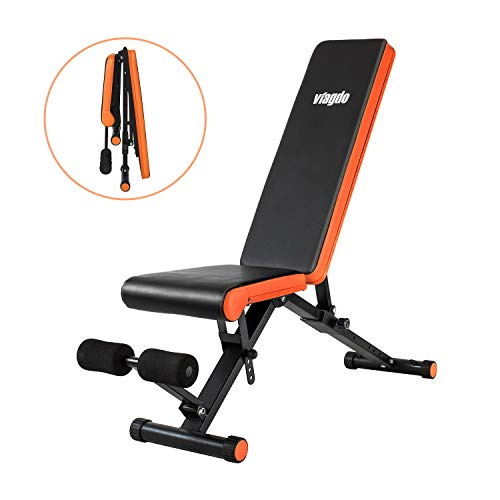 Viagdo Adjustable Weight Bench Utility Workout Bench- 8 Positions, 660 lbs Capacity, Folding Flat/Incline/Decline Bench for Weight Training and Exercises, Perfect for Full Body Workout and Home Gym