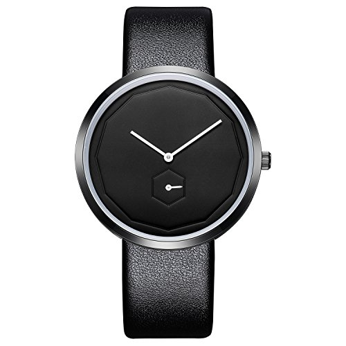 STARKING Woman's Minimalist Wristwatch Thin Leather Black TM0909 Casual Analog Quartz Black Dial with Subdial Unisex