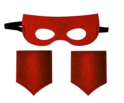 Childrens superhero mask and cuff / Mascara y puño (Red)