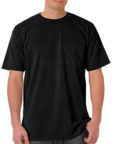 (Comfort Colors Chouinard 6030 Adult Heavyweight Pocket Tee Black DirDye Large)