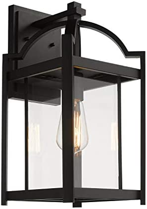 Emliviar Outdoor Wall Lights Exterior Wall Sconce, Modern 17 inch Large Wall Lanterns in Black Finish with Clear Glass, 3038B BK