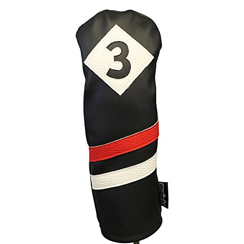 (Majek Retro Golf Headcover Black Red and White Vintage Leather Style #3 Fairway Wood Head Cover Classic Look)