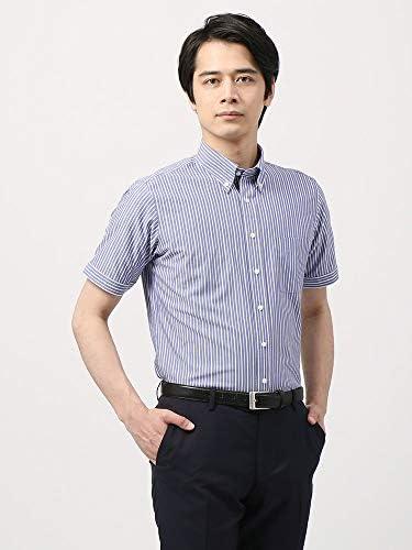 (ザ・スーツカンパニー) 半袖・NON IRON STRETCH/ボタンダウンカラードレスシャツ 〔EC・FIT〕 ブルー×ホワイト