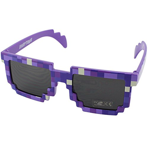 Pixel Kids Sunglasses Purple, Novelty Retro Gamer Geek Glasses for Boys and Girls Ages 6+ by - Sunglasses Pixel 8 Bit