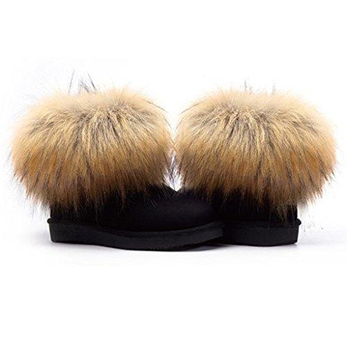 Snow Fashion Ankle Lady's Flat Boots Black Chestnut a1x4vwt
