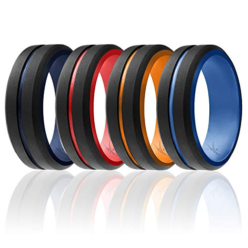 ROQ Silicone Wedding Ring for Men - 6/4/3 Packs or Single Ring Men's Silicone Rubber Wedding Bands, Engraved Middle Line Beveled Edge Style, Metal & Vivid Matte Colours
