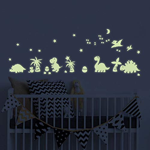 Dinosaurs Glow in The Dark Wall Decals, Moon Glow Stickers in The Dark, Children's Room Nursery Wall Stickers Murals