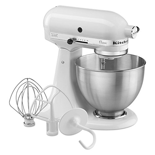 (KitchenAid Classic Series 4.5 Quart Tilt-Head Stand Mixer, White (K45SSWH))