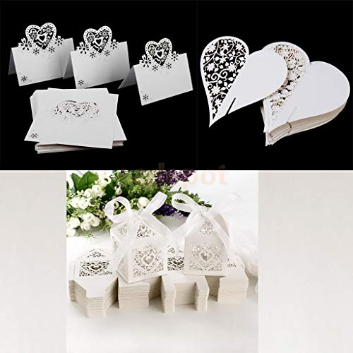 (DecorFav Set of 150Pcs Heart Glass Place Cards+Name Cards+Snack Candy Box Wedding Party Favor)