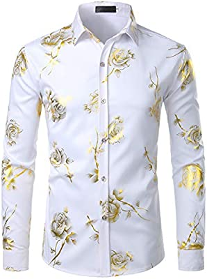 Tymhgt Mens Casual Hipster Star Printed Slim Fit Long Sleeve Dress Shirts Tops