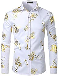 Men's Golden Printed Slim Fit Shirt