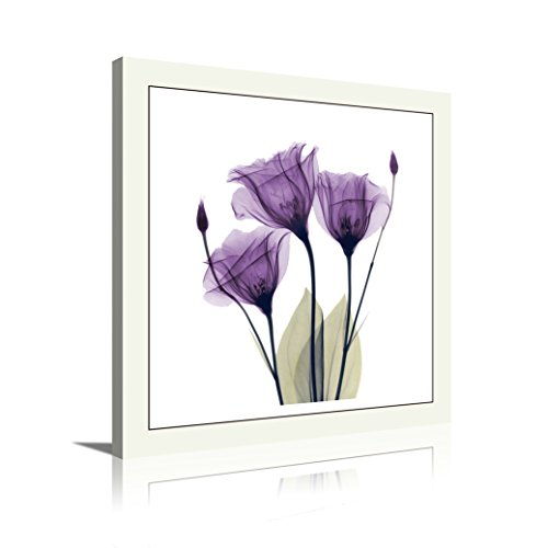 HLJ ART 4 Panel Elegant Tulip Purple Flower Canvas Print Wall Art Painting For Living Room Decor And Modern Home Decorations Photo Prints 12x12inch (Purple-A)