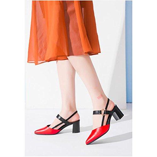 Jingsen Été Coréen Haut Talon épais avec la Mode étudiant Robe Sandales Chaussures (Couleur : Blanc, Taille : 34) Rouge