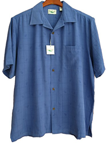 Good Life Mens Silk Camp Shirt Amparo Blue Hawaiian Pineapple Jacquard (Large, Amparo Blue)