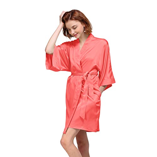 AW Womens Satin Robe Short Kimono Robe V-Neck Soft Bathrobe Sleepwear Solid Color, Coral Pink Bridal Robe XS