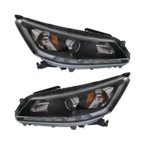 Headlight Assembly Compatible with 2013-2015 Honda Accord Halogen 6Cyl EX-L/Touring Models Sedan Passenger and Driver Side