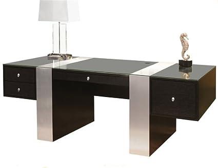 amazon com premium modern executive office desk in wenge brushed