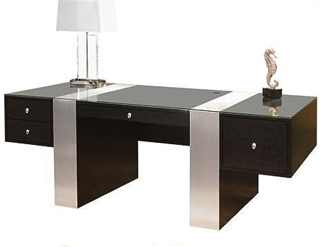 Premium Modern Executive Office Desk In Wenge U0026 Brushed Aluminum