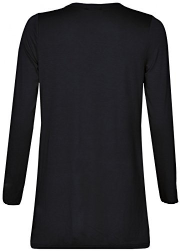 NUEVO MUJER Boyfriend Cardigans de manga larga abierta frontal de 2bolsillo Tops UK tamaño 8–�?6 negro