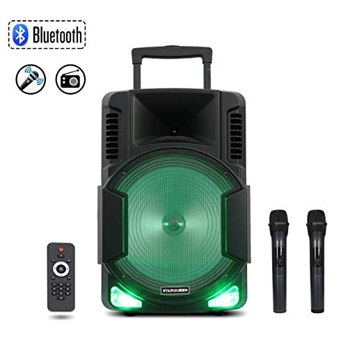 Starqueen 15Inch Trolley Bluetooth PA Speaker with 2 Wireless UHF Microphones