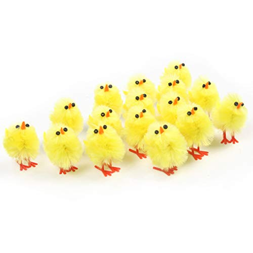 Easter Egg Chickens (60 pack Easter mini chicks set,1 inch| Adorable Easter Decoration| Suitable Size for Easter Eggs| Easter Egg Bonnet Decoration| Party Favors and Gifts for)