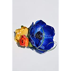 Colourful Buttonhole with Vibrant Anemones and Roses 2