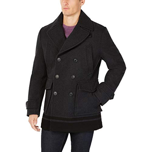 Calvin Klein Wool Peacoat with Color Blocked Hem Charcoal XL