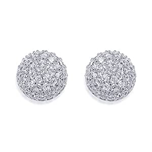 Peora 925 Sterling Silver Rhodium Cubic Zirconia Radiant Round Stud Earrings for Women PE5134