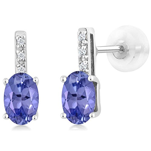 Gem Stone King 14K White Gold Oval Blue Tanzanite Stud Diamond Women