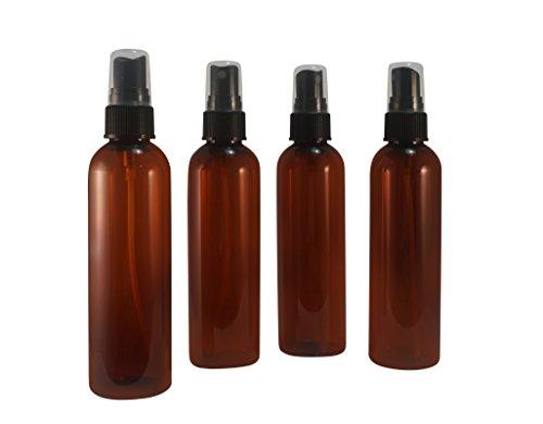 wolfmoon botanicals WM (Set of 4) 4 Oz Amber Refillable, Reusable, Empty Plastic Bottles w/Fine Mist Spray Cap Atomizer – Mfg. USA - Used in DIY, Perfume, Oils, Aromatherapy, Body ()