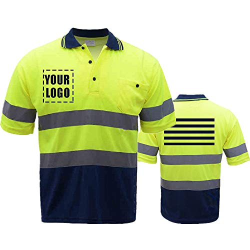 High Visibility Reflective Safety Short Sleeve Polo shirt Hi Vis Work-wear Shirt Reflective Stripes Yellow (Neon Yellow/Blue L) (Hi Vis Polo Shirts With Reflective Tape)