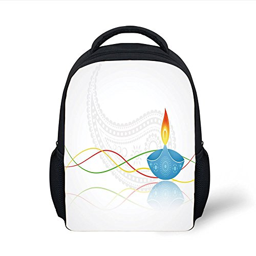 iPrint Kids School Backpack Diwali,Tribal Art Religious Festive Fire Candle Image with Modern Paisley Backdrop Print,Multicolor Plain Bookbag Travel Daypack by iPrint