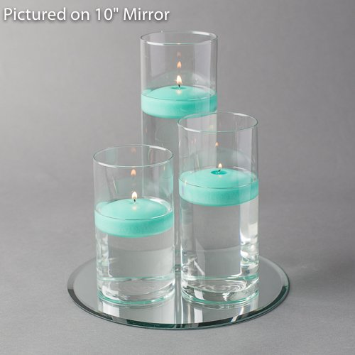 Aqua Floating Candles (Eastland Round Mirror and Cylinder Vases Centerpiece with Richland Floating Candles 3