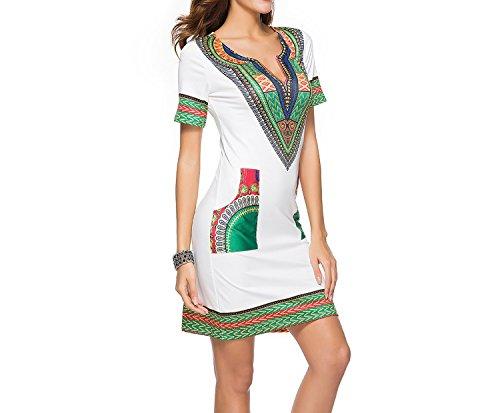 Cheryl Bull Elegant Women Tight Printing Women Dress,Bei Bai,M]()