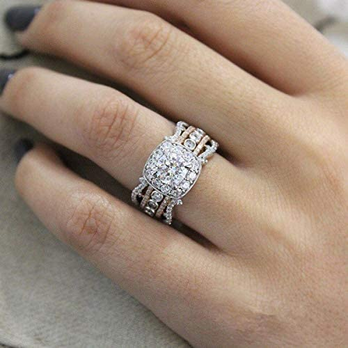 Caoli Platinum Ring in 14k Rose Gold Square Diamonds