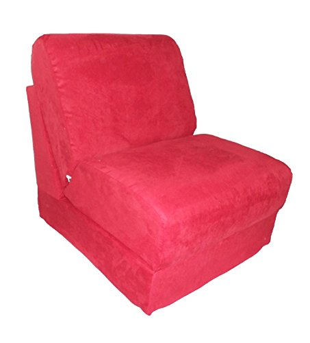 (Fun Furnishings Micro Suede Teen Chair with Pillow, Red)