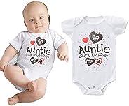 i-Auto Time My Auntie Loves Me Newborn Baby Boy Girl Bodysuit Bodysuit Romper Clothes