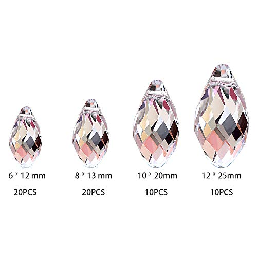 SunAngel Clear Corn Balls Pendants & Clear Teardrop Glass Beads for Jewelry Crystal Glass Pendants Suncatchers Chandelier Prism Parts Beads for Decoration Party Christmas - Pendant Teardrop Shaped