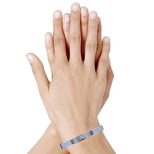 Les Poulettes Jewels - Rhodium Silver Bracelet Half Circlet Flat and One Rhinestone by Les Poulettes Jewels (Image #1)