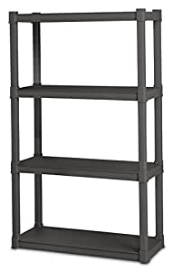 Sterilite 01643V01 4 Shelf Unit, Flat Gray Shelves & Legs, 1-Pack