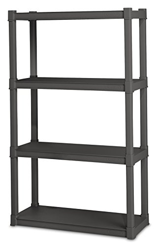 Sterilite 01643V01 4 Shelf Unit, Flat Gray Shelves & Legs, 1-Pack - Storage Unit Assembly