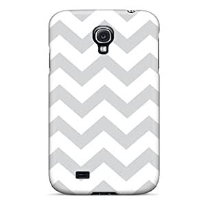 Ultra Slim Fit Hard S.N.H Case Cover Specially Made For Galaxy S4- Grey And White Crazy Lines