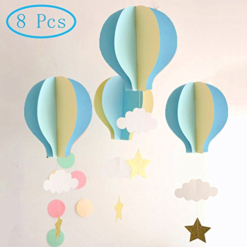 AZOWA 8 Pcs Large Size Hot Air Balloon 3D Paper Garland Hanging Decorations for Wedding Baby Shower Valentine's Day Christmas Décor Birthday Party Supplies By (Blue, 8 (Halloween Activity Ideas For The Office)